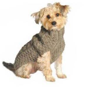 The Chilly Dog Cable sweater is made from 100% wool