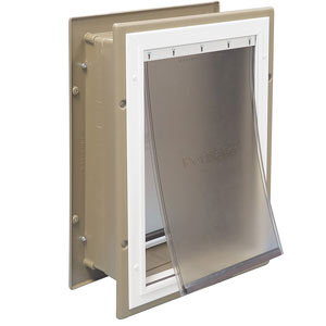The PetSafe Wall Entry has a telescoping tunnel for wall installation without framing materials