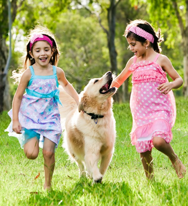 Children running with other dogs