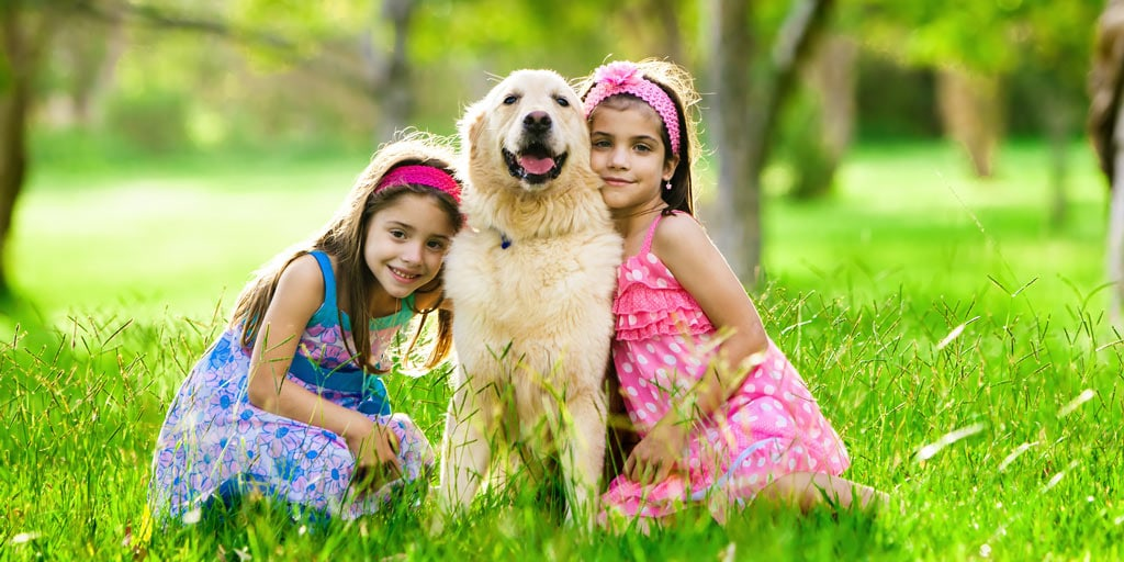 Golden retriever with two young girls