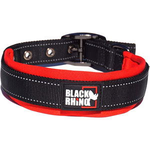 Black Rhino reflective dog collar