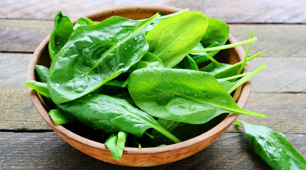 a bowl of spinach leaves