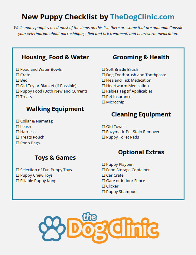 A new puppy checklist