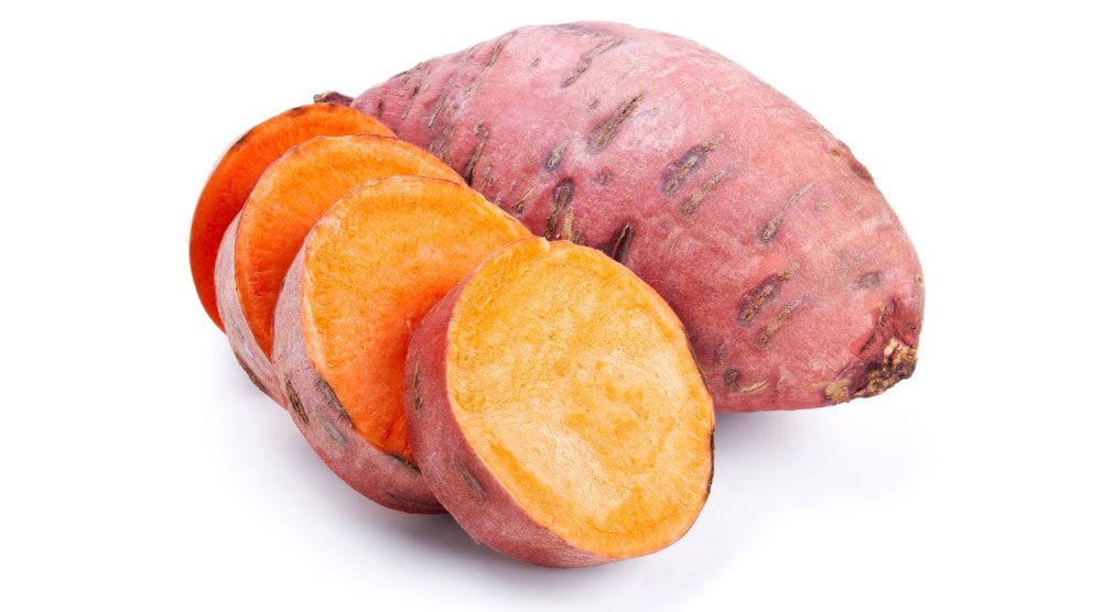 close up of two sweet potatoes